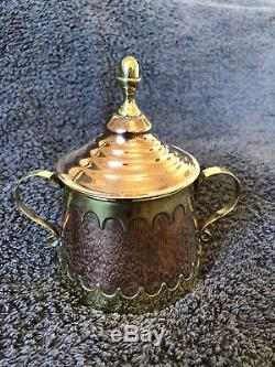 Vintage c1900 Arts And Crafts H. Pomier Of Bruxelles Copper and brass coffee set