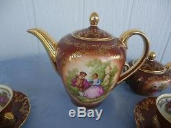 Vintage grizelle germany rembrandt french couple coffee set cups & saucer pot