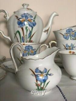 Vintage tea / coffee set Tuscan Fine English Bone China Blue Iris