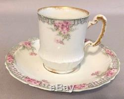 Vtg. 9-Piece Haviland Limoges France Tea / Coffee Set with Gold Trim Pink Flowers