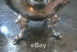 Vtg Birmingham Silver on Copper 7 PC Coffee & Tea Set with Tilting Kettle on Stand