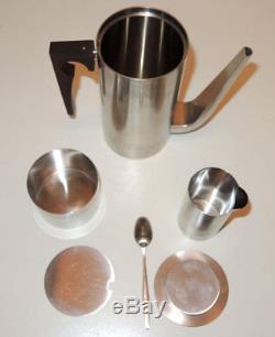 Vtg Cylinda-Line Arne Jacobsen Coffee Set Pot Creamer Sugar Modern Design