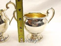 Vtg Heirloom Sterling Silver Damask Rose Sugar Bowl Creamer Set Coffee Oneida