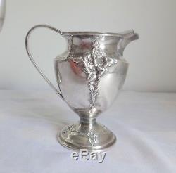 Vtg International Silver Holmes & Edwards Spring Garden Tea Coffee Pot + 2pc Set