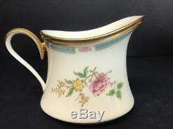 Vtg Lenox Morning Blossom Coffee, Tea Pot Cream & Sugar Set Gold Trim Rare