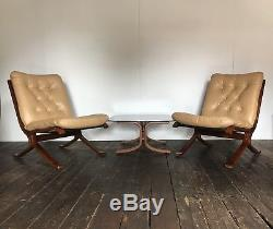 Vtg Mid Century Leather Set Of 2 Chairs Armchairs & Coffee Table Danish Design