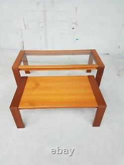 Vtg Mid Century Teak Glass Coffee Table Set Of Two Nest Of Tables Side Danish