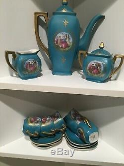 Vtg ROYAL VIENNA Torqouise Gold Demitasse Coffee Set 17 Pieces BEEHIVE
