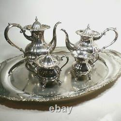 Vtg Sterling Silver. 950 Coffee & Tea Set Teapot Creamer & Sugar 2,528g maurzz