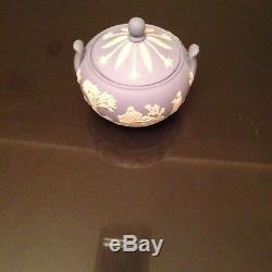 Vtg Wedgwood 4 Pcs Coffee Set Jasperware Teapot, Sugar, Creamer & Tray