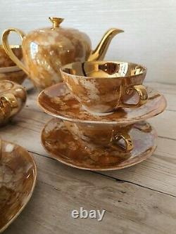 WALBRYZYCH WAWEL Poland Hand Painted marble gold coffee set vintage 1970s vgc