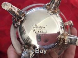 Wallace Baroque Silver Plated Tea Set Coffee Service 5 Piece Vintage 281-284