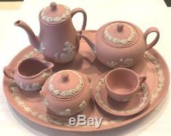 Wedgewood Jasperware Pink Mini Miniature Coffee & Tea Set 10 Piece Vintage