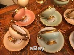 12 Coupe 12 Saucer Ensemble Complet Vintage Kpm Danoise Copenhague Porcelaine Maleri Café