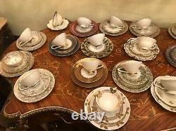 19 Tasses Mixtes Soucoupes Assiettes Gâteau Allemand Procelain Antique Vintage Fabricants Allemands