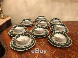 1950 9 Tasses De Soucoupe Vintage Gâteau Plaque W. J Schmidt Porcelaine Set Handpaint Thé