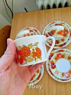 1970 Vintage Floral Coffee Set Par Scherzer Bavaria Cups Saucers Assiettes 12 Pcs