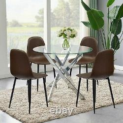 2 4 6 Chaises Rétro Faux Cuir Black Metal Legs Kitchen Living Room Sets