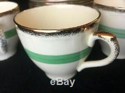 20 Piece Vintage 1930 Alfred Meakin Tea Set Café Avec Gilt Vert Band Retro