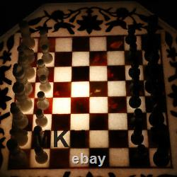 22 Marble Inlay Chess Board Set Vintage Stone Pieces Table Basse Marquitry