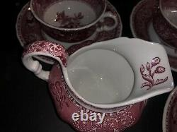 23 Pc Vintage Copeland Spode Camilla Red Victorian Tea Coffee Set Service Pour 9