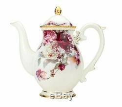 24 Pc Euro À Thé En Porcelaine Tasse De Café Set 24k Service Vintage Pour 6 Dining