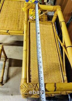 3 Pièces Vintage Boho 70s Bamboo Set Côté Table De Café Livre Plante Lampe Stand