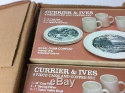 3 Sets Boîtes Usine Vtg Currier & Ives Royal China Coffee Saucer 9 Piece Gâteau