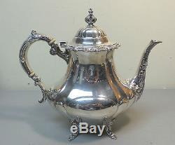 5 Pcs Reed & Barton Vintage Sterling Silver Georgian Rose Coffee / Tea Set