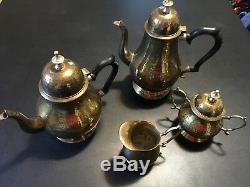 5 Pièces De Thé En Laiton Antique Vintage Set De Café Deux Pots À Thé Plateau De Sucre À La Crème Fait