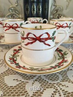 6 Houx Rubans Cans Café Worcester -royal Set Café -vintage Chine Avec Des Arcs