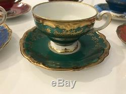 6 Porcelaine Weimar Vintage Katharina 28010 Service À Thé / Cafétasse À Thé Et Soucoupe