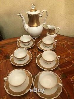 6 Tasses Vintage 1 Pot 1 Pot À Lait Jlmenau Graf Von Henneberg Porcelaine Set Café