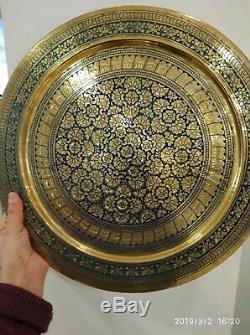 8 Pcs Vintage Laiton Cuivre Cuve Énorme Pot Dallah Plateau Grand Ensemble De Café Arabe Islamique