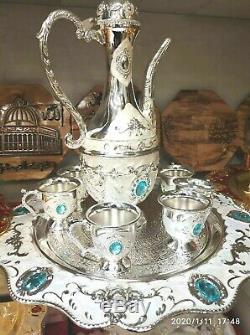 8 Pièces En Laiton Vintage Cuivre Énorme Pot Dallah Plateau Big Service À Café Arabe Islamic