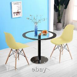 90cm Table À Manger Ronde En Verre Trempé Et 2/4 Wood Chair Set Bureau Coffee Home