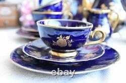 Allemagne 22 Pc Vintage Bareuther Echt Cobalt Bavaria Porcelain Coffee Set 6 Tasses