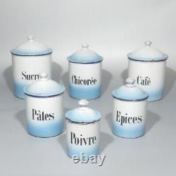 Ancien Coffret En Émail Français, Bleu Et Blanc, Café À Sucre, 6 Pces