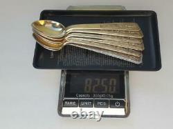 Années 1950 Set 6 Cuillères À Café Vintage Urss Sterling Silver 875 Vietnam 82,5 Gr