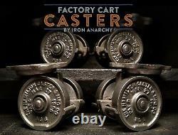 Anticique Industriel Casters, Vtg Panier D'usine Table Basse Roue En Fonte En Métal
