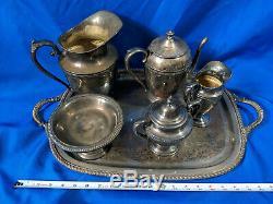 Antique Café Thé Set D'argent Sur La Plaque De Cuivre Lourd Vtg Lot Reed Barton Wm