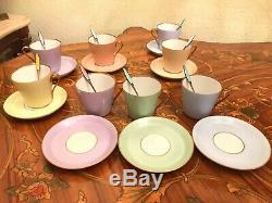 Antique Vintage 8 Coupes Et 8 Saucer 8 Thé En Porcelaine Set Café