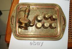 Antique Vintage Inde Brass Café Set Plateau Thé Pot Et 6 Tasses Painted Décoratifs