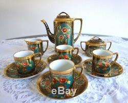 Antique / Vintage Noritake Porcelaine Set Café Avec 4 Boîtes De Café Coupes 11 Pcs