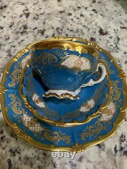 Antique Vintage Weimar Katherine Blue Gold Gilded Tea / Coffee Set! Très Rare