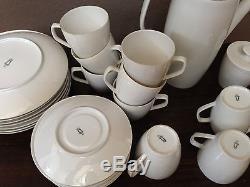 Antique Vtg Rare 27 Schonwald Allemagne Plats Blancs Fine China Coffee Coffee Set Ancien