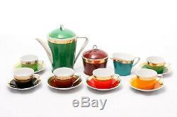 Arc-en-6 Personne Café Vintage Set Hollohaza Porcelain'60s Hongrie
