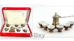 Argent Massif Vintage Islamique Syrien Café Set 6 Tasses En Porcelaine D'argent 1 Cezve