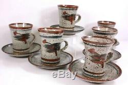 Art Vintage Studio Poterie Set Café De 6 Tasses Et Soucoupes 20è Siecle