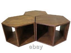 Artemis Hexagonal Set Of 3 Table Basse Acacia Wood Side End -wnt09